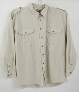 Cabela's Safari Series Mens 3XLT Tall Ivory Pocket Front Epaulet Button Up Shirt