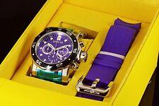 Invicta Pro Diver Scuba Purple Chronograph Dial Changeable Bracelet 2 Strap Watc