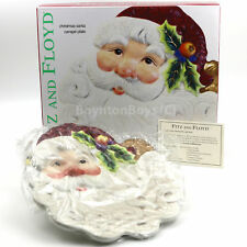 Vintage Fitz and Floyd Christmas Santa Collector Canape Plate Dish Dessert Nos