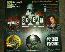 Scream Factory -Exclusive Comic Con 2013 Pins New/Rare