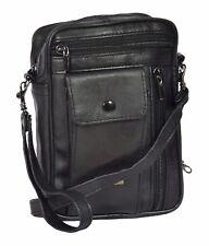 Mens Leather Shoulder Cross Body Bag Wrist Clutch Grab Money Travel Purse Black