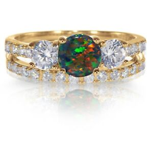 14k Yellow Gold Plated Round Black Fire Opal Engagement Wedding Silver Ring Set