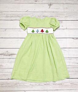 Handmade In US Dressy Seersucker Smocked Holidays Girls Green Dress Sz 5T