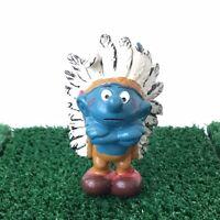 Smurfs Indian Smurf Chief 20144 Vintage 1981 Schleich Native American Toy Figure