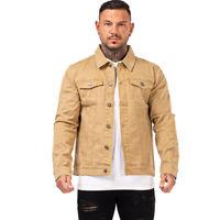 GINGTTO Men Denim Trucker Jackets Vintage Yellow Casual Slim Fit Biker Jean Coat