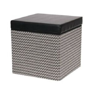 Household Essentials Square Storage Ottoman with Padded Seat Black Chevron #C494