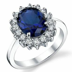 6 Ct Oval Cut Sapphire Simlnt Diamond Halo Statement Ring White Gold Fnsh Silver