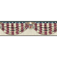 Antique Stars & Stripes Forever Swag Easy Walls Wallpaper Border CTR63172B