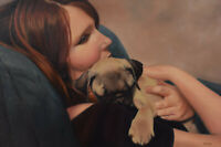 """Verna Linney Oil Painting Daydreaming with Puppy Canadian Listed Artist 20x30"""""""