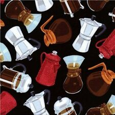 Coffee Pot Enamel Espresso French Press Grinder Black Cotton Fabric Fat Quarter