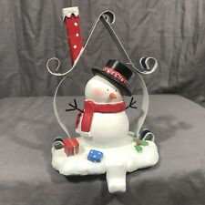 Snowman Christmas Stocking Holder Resin Metal House Chimney Presents 8""