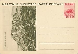 ALBANIA 1937 ILLUSTRATED POSTAL STATIONERY CARD