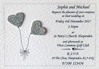 50 Handmade Personalised Wedding Invitations Day/Evening - FREE ENVELOPES!