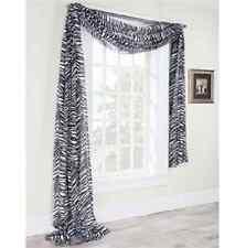grayish white  zebra black WINDOW SCARF  Sheer Voile Window Panel  New Curtian