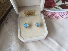 Vintage Blue Round Opal 9ct Gold Earrings 9 ct Gold Ear Rings for pierced ears