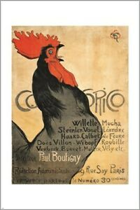 cocorico 1896 VINTAGE ART POSTER theophile steinlen COLORFUL ROOSTER 24X36