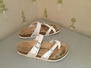 Birkenstock White leather double strap slip on sandals size 38 uk 5