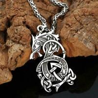Wolf Necklace Pendant Vintage Wolf Head Animal Women Silver Jewelry Men X1O1