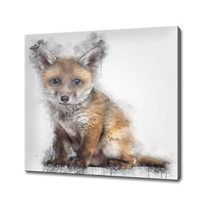 RED FOX CUB ANIMAL ABSTRACT PAINT STYLE WALL ART PICTURE CANVAS PRINT