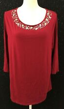 J Jill Womens Plus Sz 2X Red Sequin Embellished Gilded Tee Shirt Blouse Top