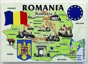 """ROMANIA EU SERIES FRIDGE COLLECTOR'S SOUVENIR MAGNET 2.5"""" X 3.5"""""""