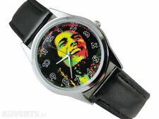 Bob Marley Face Black Leather Band Wrist Watch