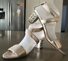 "Pre-owned Soft Gold PU NOVO ""Pina"" Crystal Embellished Block Heel Shoes Size 9"