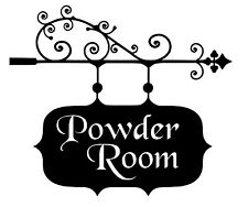 Powder Room Bathroom Sign House Office Vinyl Wall Art Decal Removable Ships FREE