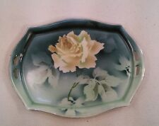 VTG Germany hand painted Yellow Rose Bon Bon Celery Candy Plate Dish Tray