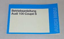 Manual de instrucciones de audi 100 Coupe s tipo c1 de 08/1974