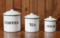 Primitive ENAMELWARE CANISTERS Set of 3 COFFEE TEA SUGAR New Farmhouse Cottage