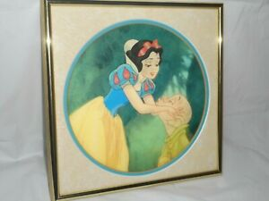 SNOW WHITE 3D PICTURE Dopey From Seven Dwarfs Hologram Goldtone Metal Frame
