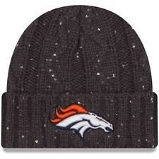 NWT NEW ERA DENVER BRONCOS WOMEN S GRAPHITE CABLE FROSTED SEQUIN KNIT HAT 55f5fb64fc9