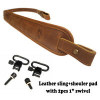 """Double-Layed Leather Rifle Sling with 1"""" Swivel, Comfort Shoulder Pad  Gun Strap"""