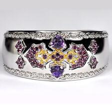 925 Sterling Silver 6.20 ct Garnet Amethyst Womens Cuff Bangle Bracelet 7 inch
