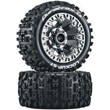 Duratrax Lockup ST 2.2 Mounted Tires Wheels 4 Traxxas 1/16 E-Revo Summit Chrome
