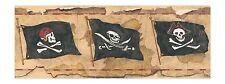 Pirata Teschio & Ossa Incrociate Marrone Dorato Bordo Carta da Parati MP4955B