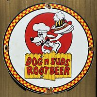 VINTAGE DOG N SUDS ROOT BEER PORCELAIN METAL SIGN US OIL LUBE GAS SODA POP DRINK