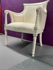 Modern White Painted Distressed Antique Style Chair