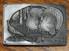 REMINGTON VINTAGE 2002 WILD TURKEY HUNTING RIFLE COUNTRY PEWTER BELT BUCKLE