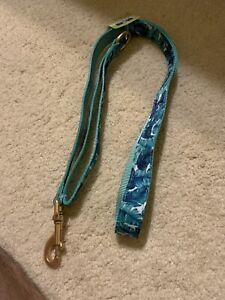 Top Paw Blue Leaf Dog Leash Soft   1 Inch Wide X 4 Feet Long