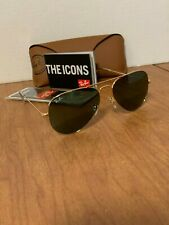 Ray-Ban RB3025 W3234 55MM Small Aviator Gold Sunglasses G15 Green Lens