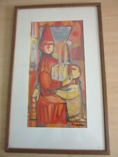Vintage Mid Century Painting, framed Man with child signed HAYMAN, Patrick ?