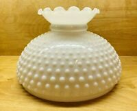 "Vintage White Milk Glass Hobnail Lamp Shade With Ruffled Top 10"" Fitter"
