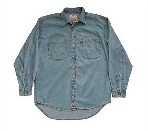 Vintage 90's Levi's Red Tab Button Up Blue Denim Pocket Retro Western Shirt M/L