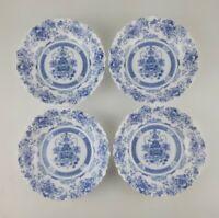 "4 Arcopal HONORINE Soup Cereal Bowls 7-1/8"" France Scalloped Blue Floral"