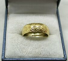 1970's Heavy 18ct Gold Patterned Wedding Ring