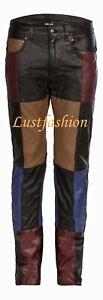 Lederhose Herren W46 PATCHWORK Lederjeans 62 neu  leather trousers pants Cuir