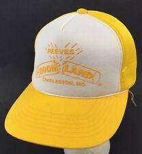 Vtg Reeves Boomland Fireworks Snapback Trucker Hat Yellow White Charleston MO