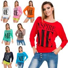 Womens One Size Long Batwing Sleeves Blouse Neon Colours Top with Print  FB338
